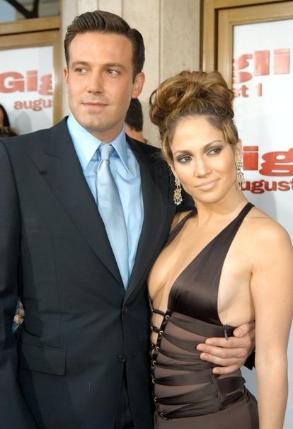 """Ben Affleck and Jennifer Lopez during """"Gigli"""" California Premiere at Mann National in Westwood, California, United States. (Photo by Jeff Kravitz/FilmMagic)"""