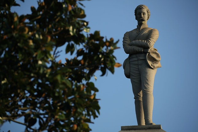 PENSACOLA, FL - AUGUST 20:  A Confederate monument featuring an 8-foot statue of a Confederate soldi...
