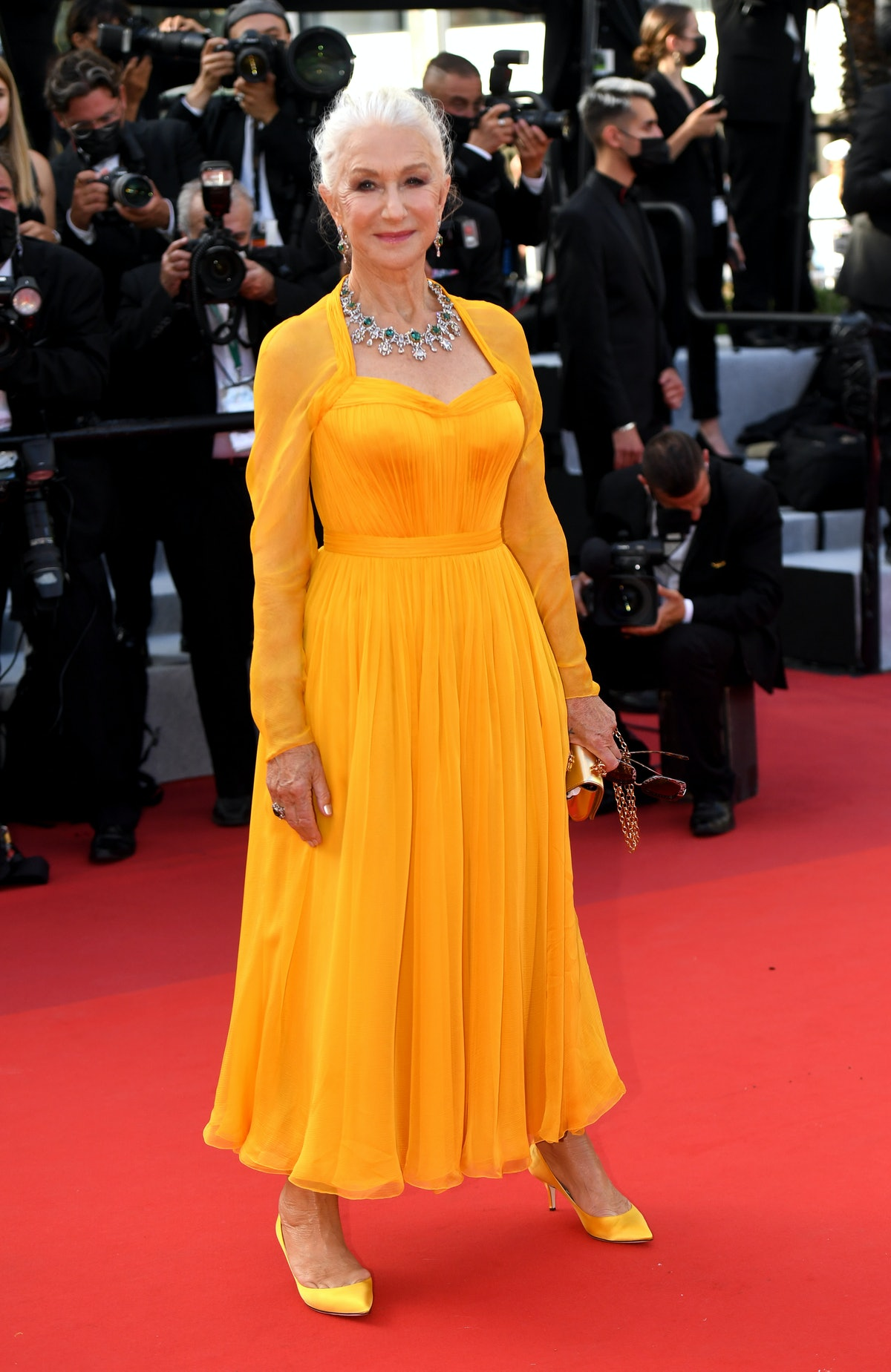 """CANNES, FRANCE - JULY 06: Dame Helen Mirren attends the """"Annette"""" screening and opening ceremony during the 74th annual Cannes Film Festival on July 06, 2021 in Cannes, France. (Photo by Stephane Cardinale - Corbis/Corbis via Getty Images)"""