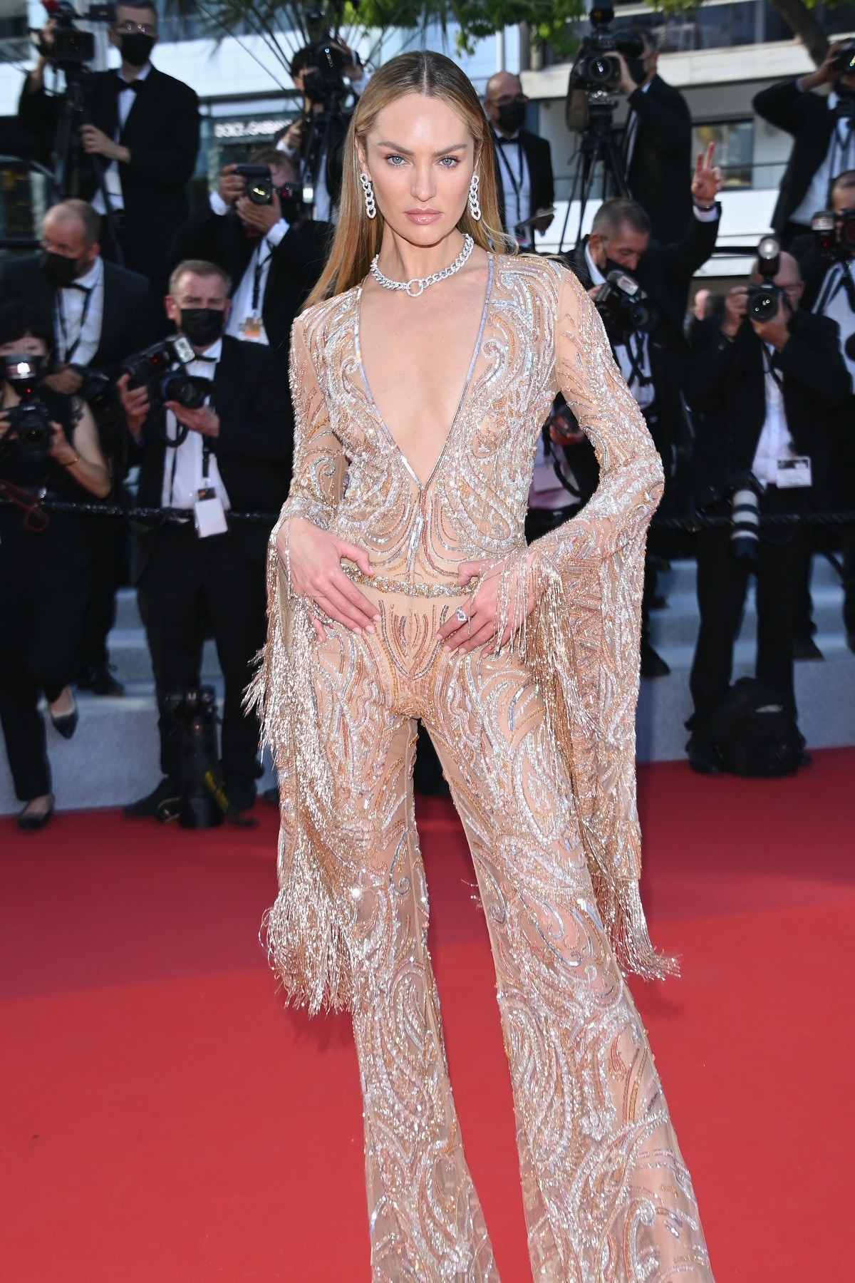 """CANNES, FRANCE - JULY 06: Candice Swanepoel attends the """"Annette"""" screening and opening ceremony during the 74th annual Cannes Film Festival on July 06, 2021 in Cannes, France. (Photo by Daniele Venturelli/WireImage)"""