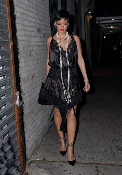 NEW YORK, NEW YORK - JULY 06: Rihanna is seen outside Carbone on July 06, 2021 in New York City. (Ph...