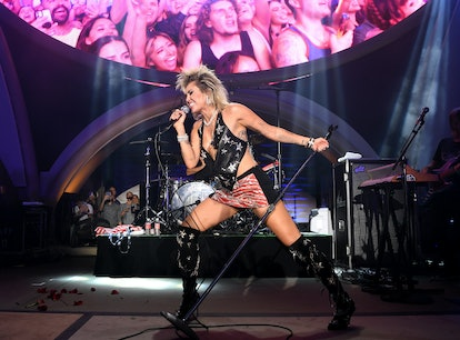 LAS VEGAS, NEVADA - JULY 04: Miley Cyrus headlines the Fourth of July grand opening celebration at A...