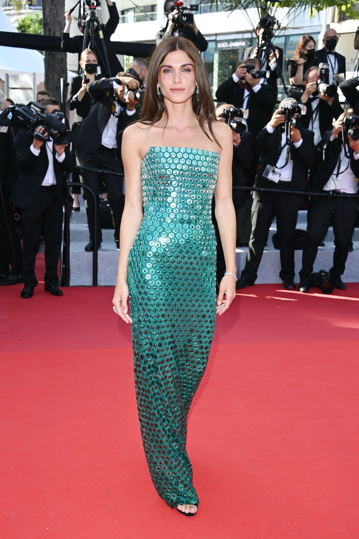 """CANNES, FRANCE - JULY 06 Elisa Sednaoui attends the """"Annette"""" screening and opening ceremony during the 74th annual Cannes Film Festival on July 06, 2021 in Cannes, France. (Photo by Stephane Cardinale - Corbis/Corbis via Getty Images)"""
