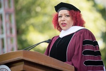 ATLANTA, GEORGIA - MAY 16: Author Nikole Hannah-Jones speaks on stage during the 137th Commencement ...