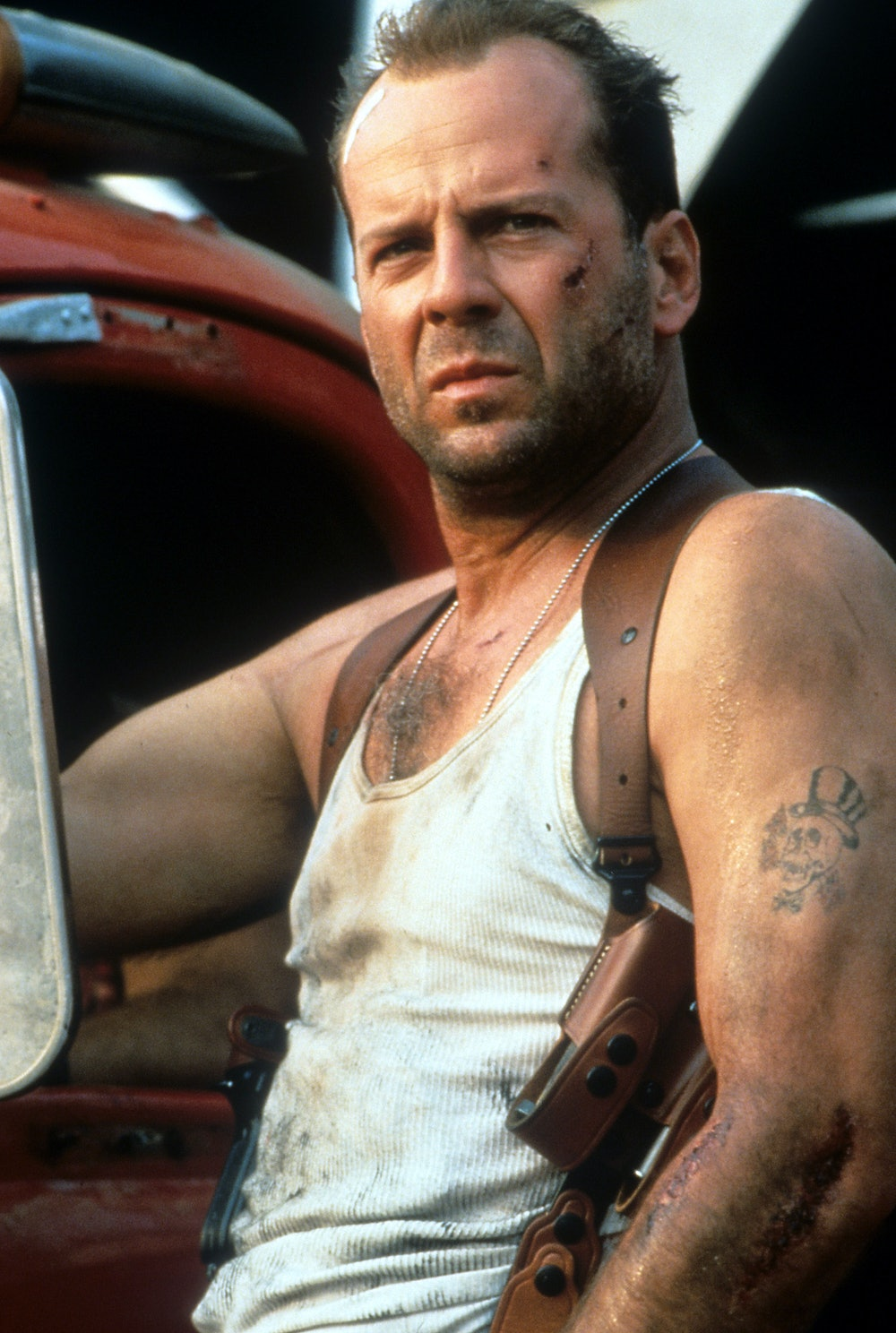 Bruce Willis wounded and disheveled in a scene from the film 'Die Hard: With a Vengeance', 1995. (Ph...