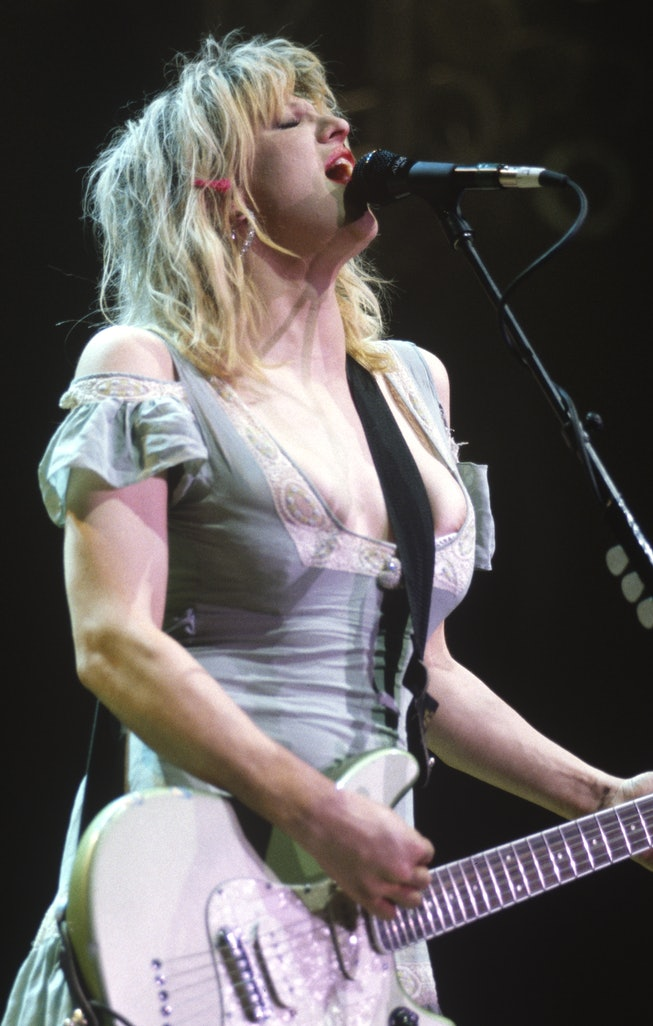 Courtney Love of Hole performs at San Jose State Event Center on December 8, 1994 in San Jose, Calif...