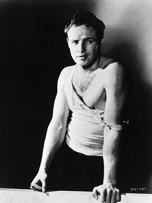 """(Original Caption) Marlon Brando as he appeared in the 1951 film, """"A Streetcar Named Desire."""" He is ..."""