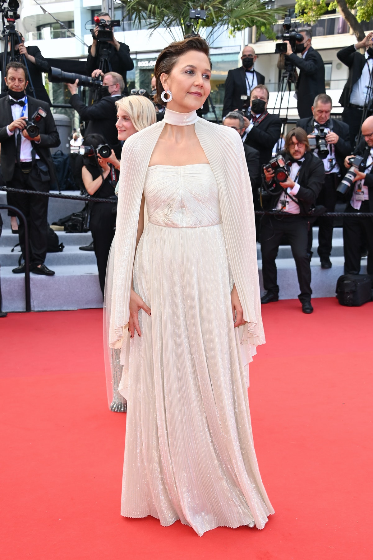 """CANNES, FRANCE - JULY 06: Jury member Maggie Gyllenhaal attends the """"Annette"""" screening and opening ceremony during the 74th annual Cannes Film Festival on July 06, 2021 in Cannes, France. (Photo by Daniele Venturelli/WireImage)"""