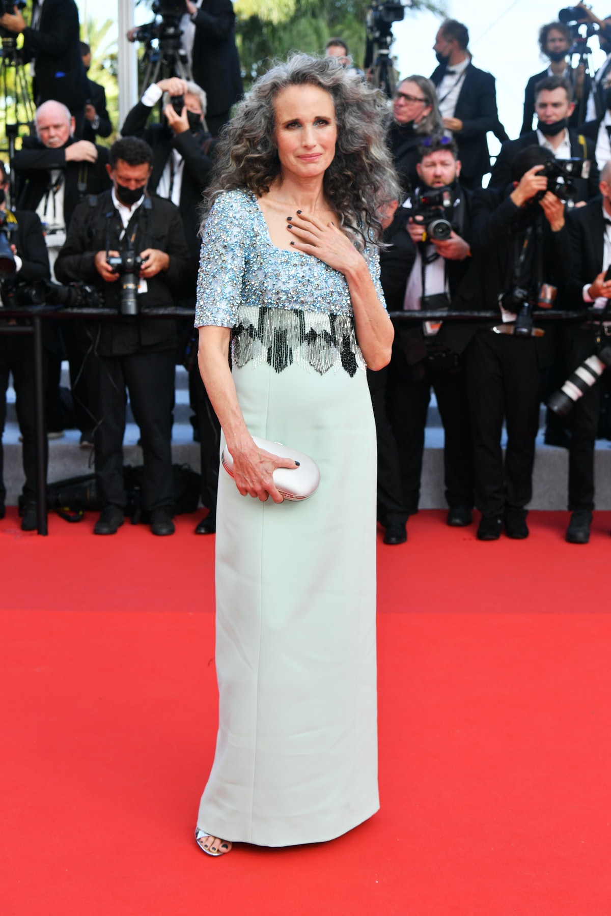 """CANNES, FRANCE - JULY 06: Andie MacDowell attends the """"Annette"""" screening and opening ceremony during the 74th annual Cannes Film Festival on July 06, 2021 in Cannes, France. (Photo by Dominique Charriau/WireImage)"""