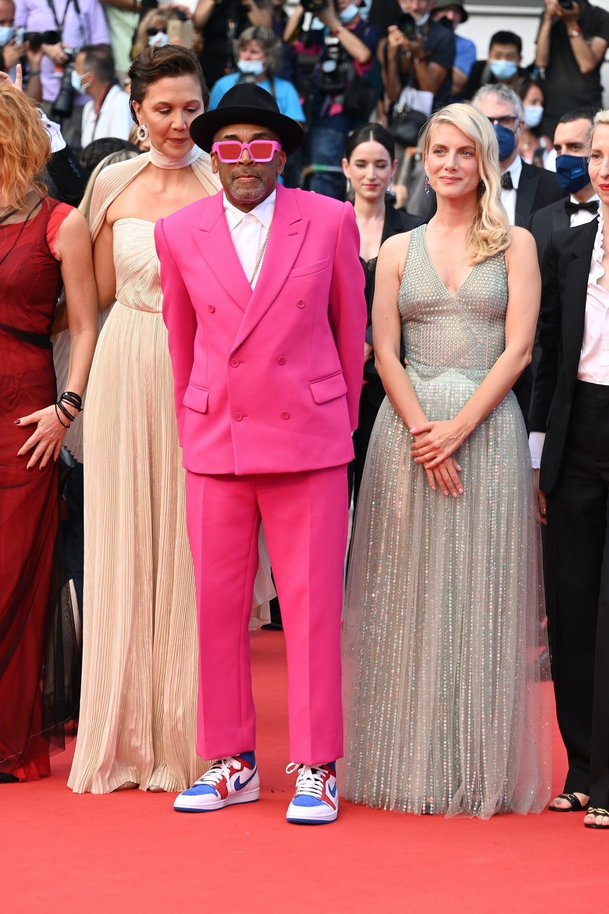 """CANNES, FRANCE - JULY 06: Jury Member Maggie Gyllenhaal, Jury president and Director Spike Lee and Melanie Laurent attend the """"Annette"""" screening and opening ceremony during the 74th annual Cannes Film Festival on July 06, 2021 in Cannes, France. (Photo by Daniele Venturelli/WireImage)"""