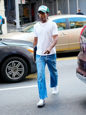 NEW YORK, NEW YORK - JUNE 30: A$AP Rocky is seen on June 30, 2021 in New York City. (Photo by Gotham/GC Images)