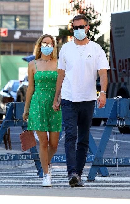 NEW YORK CITY, NY - SEPTEMBER 5: Jennifer Lawrence and husband Cooke Maroney walk wearing masks on September 5, 2020 in New York City, New York. (Photo by LRNYC/ MEGA/GC Images)