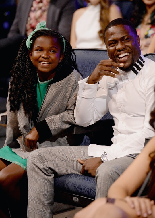 LOS ANGELES, CA - APRIL 12:  Heaven Hart (L) and actor Kevin Hart attend The 2015 MTV Movie Awards at Nokia Theatre L.A. Live on April 12, 2015 in Los Angeles, California.  (Photo byJeff Kravitz/MTV1415/FilmMagic)