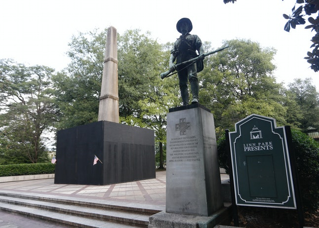BIRMINGHAM, AL - AUGUST 18: A monument to volunteers of the Army of the Republic stands next to a co...