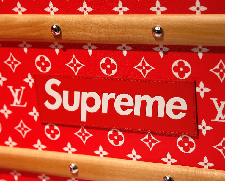 PARIS, FRANCE - MAY 14:  The Supreme logo is seen on a mail trunk by Louis Vuitton x Supreme during ...