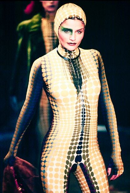 PARIS, FRANCE - MARCH 06: Helena Christensen walks the runway for the Jean Paul Gaultier Fall / Winter 1995-1996 Ready-to-Wear fashion show as part of Paris Fashion Week on March 6, 1995 in Paris, France.  (Photo by Victor VIRGILE / Gamma-Rapho via Getty Images)