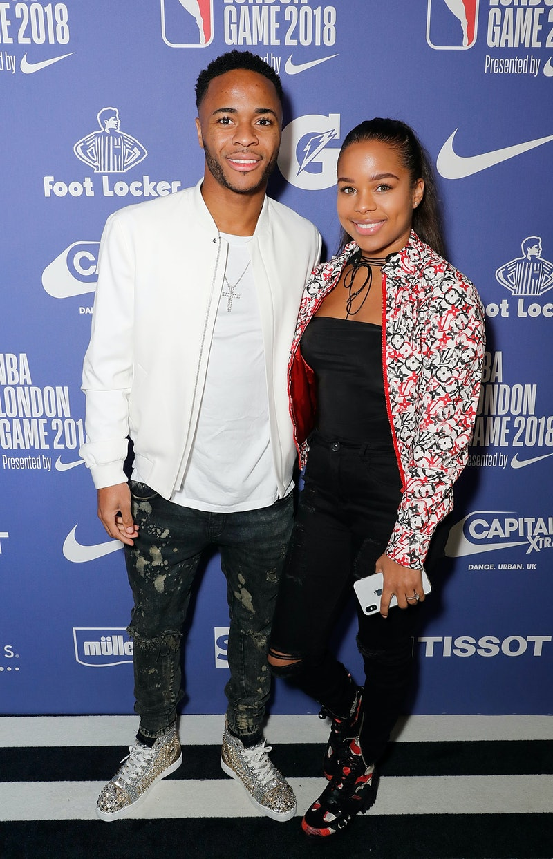 LONDON, ENGLAND - JANUARY 11:  Raheem Sterling and Paige Milian  attend the Philadelphia 76ers and B...