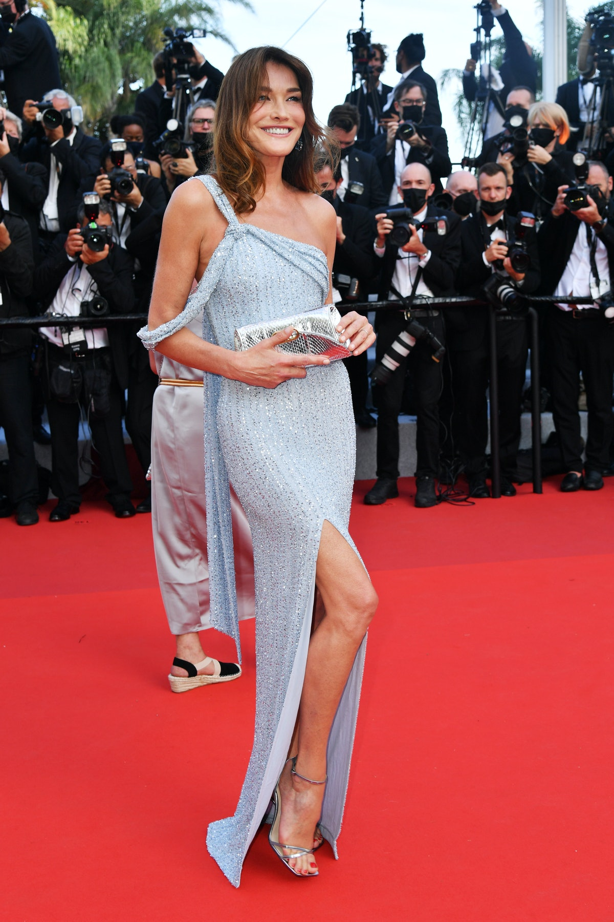 """CANNES, FRANCE - JULY 06: Carla Bruni attends the """"Annette"""" screening and opening ceremony during the 74th annual Cannes Film Festival on July 06, 2021 in Cannes, France. (Photo by Dominique Charriau/WireImage)"""