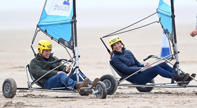 Prince William and Kate Middleton try land yachting.