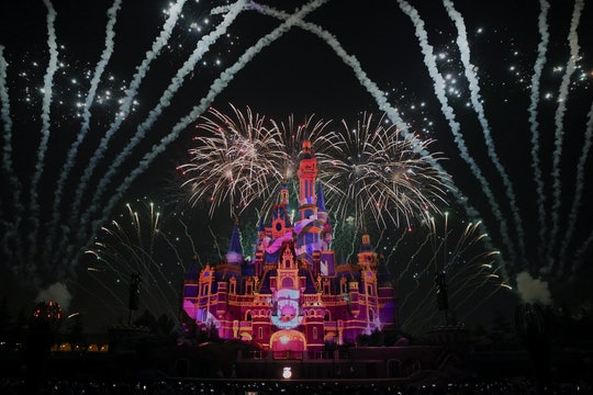 SHANGHAI, CHINA - JUNE 15:  Fireworks explode over the Shanghai Disney Resort during the 5th anniver...