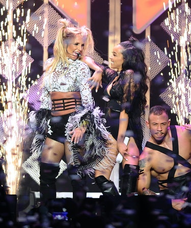 LOS ANGELES, CA - DECEMBER 02:  Britney Spears and Tinashe perform at 102.7 KIIS FM's Jingle Ball 20...