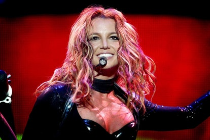 US singer Britney Spears performs in Rotterdam, 07 May 2004 during her sole concert in the Netherlands for her 'The Onyx Hotel Tour.' Spears' 2004 European tour includes a series of concerts across Europe between 30 April and 05 June 2004.   AFP/CONTINENTAL (Photo by - / ANP / AFP) (Photo by -/ANP/AFP via Getty Images)