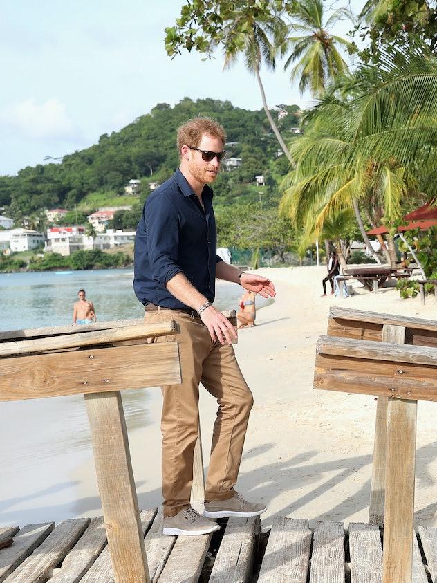 Prince Harry looks like a true beachgoer in Grenada in 2016.