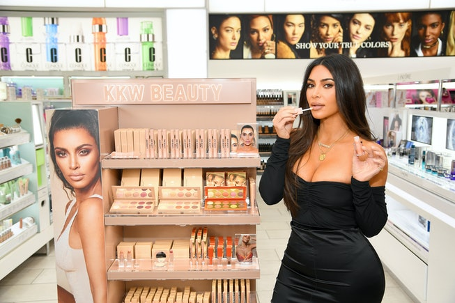 NEW YORK, NEW YORK - OCTOBER 24: Kim Kardashian attends KKW Beauty launch at ULTA Beauty on October ...