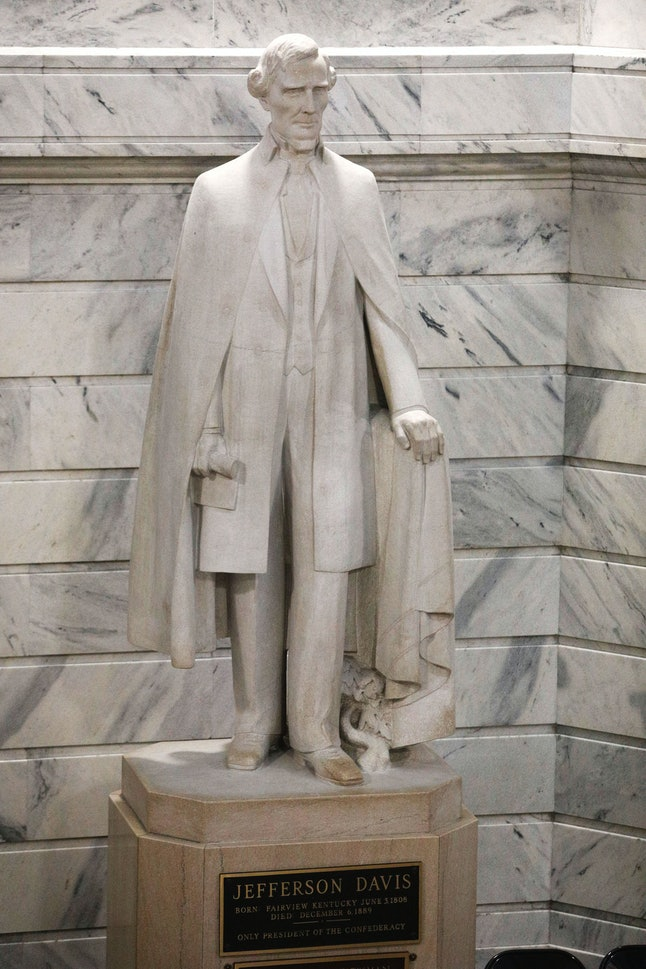 FRANKFORT, KY - AUGUST 30: A statue of Confederate President Jefferson Davis stands in the rotunda o...