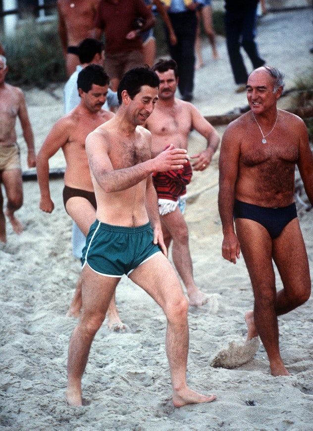 Prince Charles went for a run on the beach.