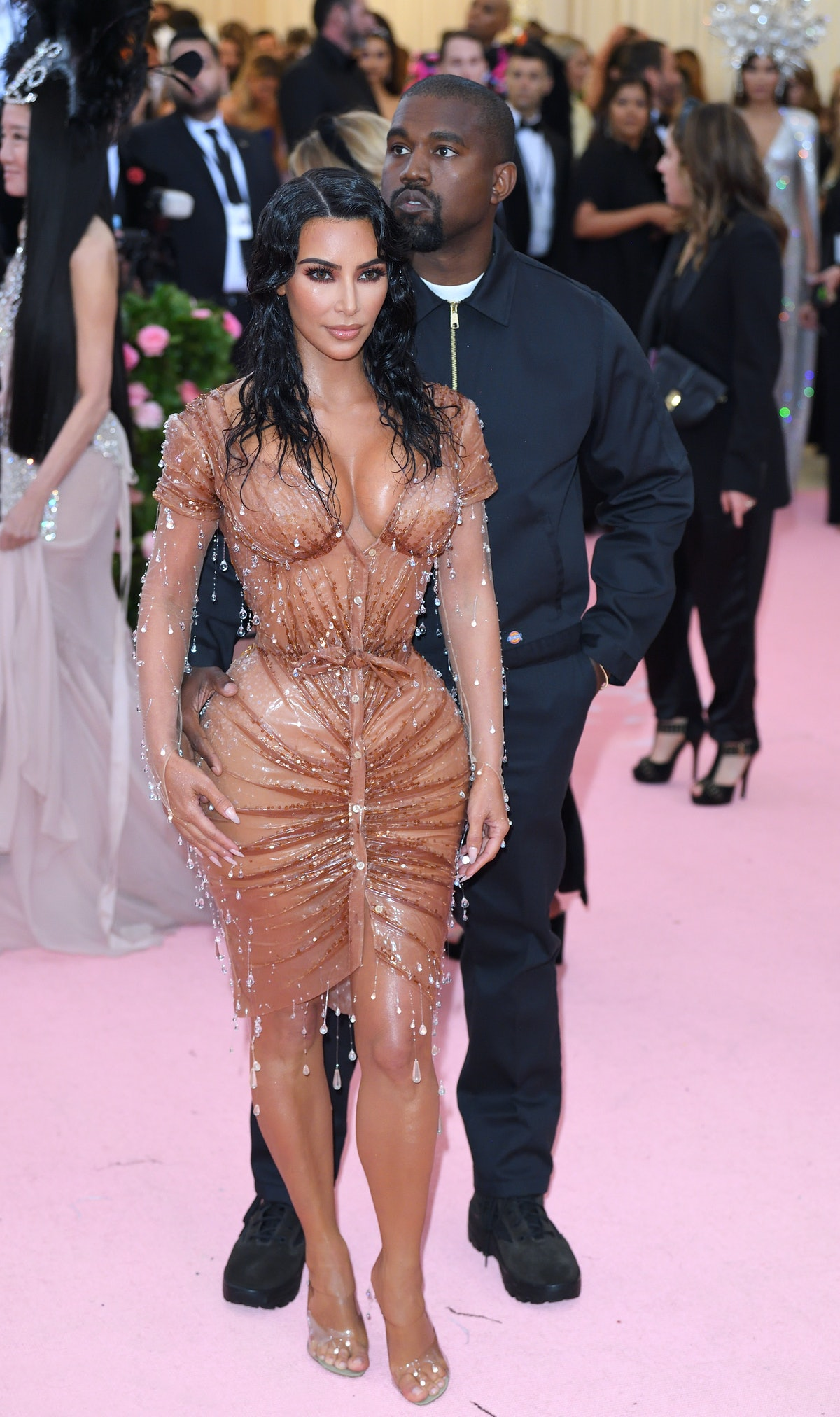 Kim Kardashian West and Kanye West arrive for the 2019 Met Gala celebrating Camp: Notes on Fashion a...