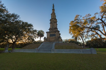 A Confederate war monument at Forsyth Park located in Savanna, Ga.