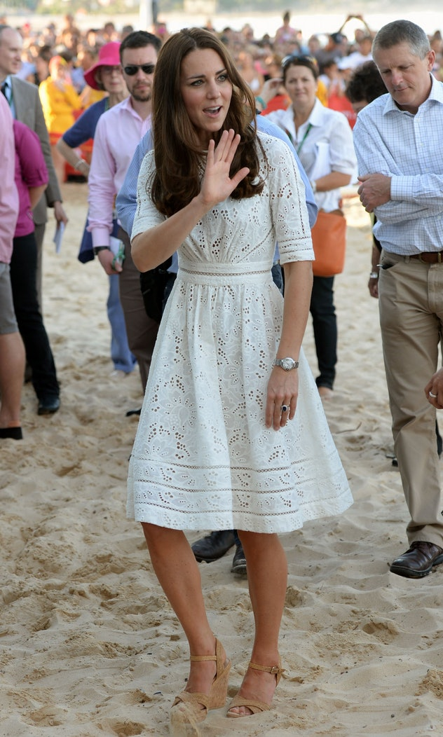 Kate Middleton on the beach in 2014.