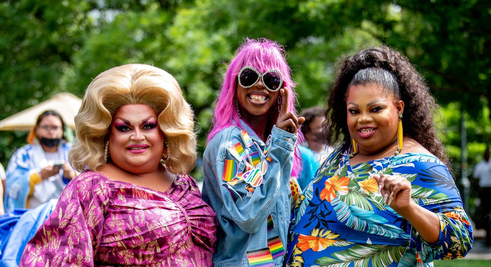 "NEW YORK, NEW YORK - JUNE 26: Ginger Minj, Ra'Jah O'Hara and Silky Nutmeg Ganache of ""RuPaul's Drag ..."