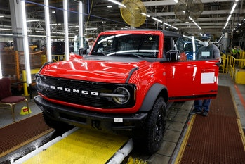 Ford Motor Company's 2021 Ford Bronco is seen on the line at their Michigan Assembly Plant in Wayne,...