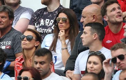 Coleen Rooney, wife of Wayne Rooney, Rebekah Vardy, wife of Jamie Vardy of England attend the UEFA E...