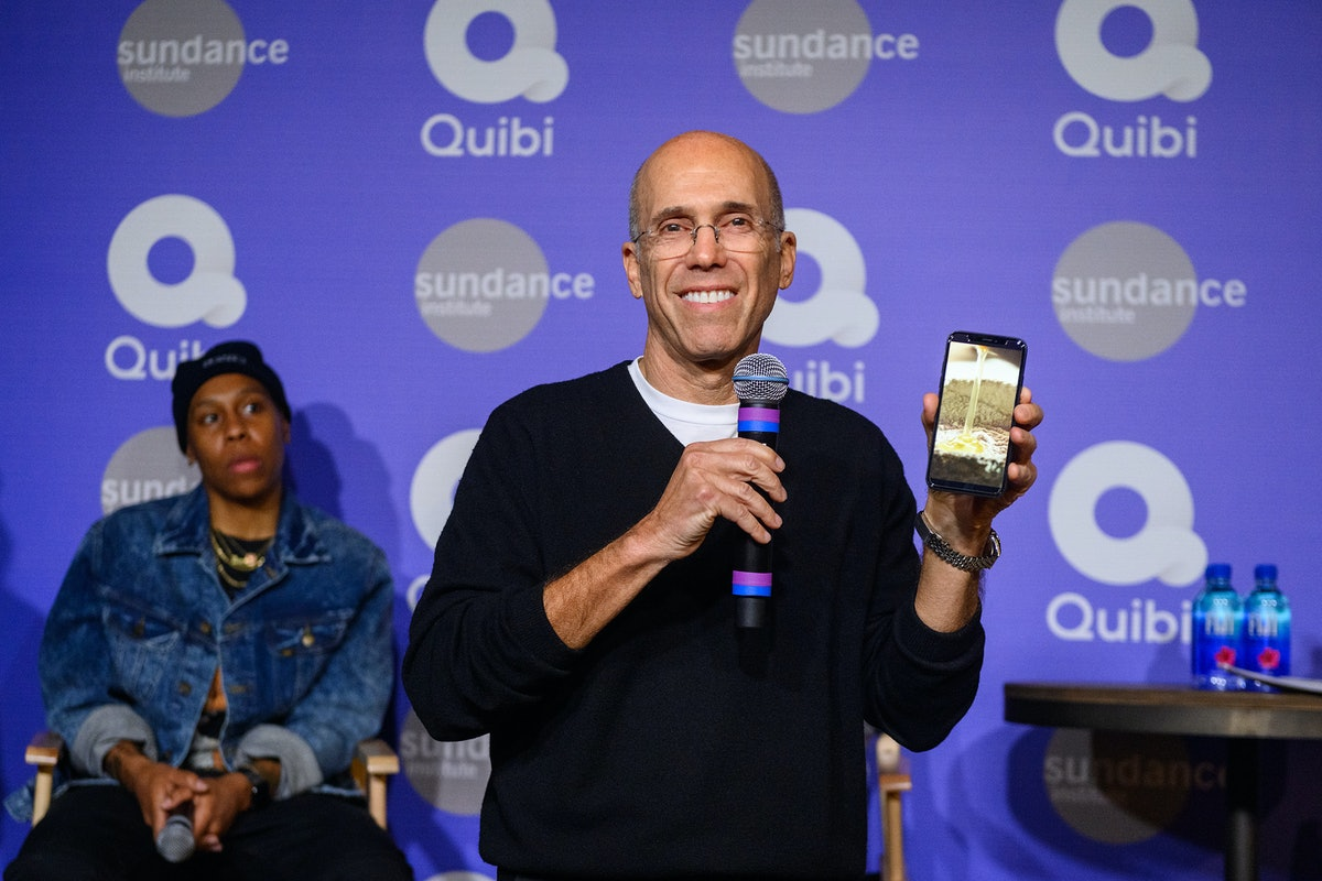 PARK CITY, UTAH - JANUARY 24: Jeffrey Katzenberg demonstrates Quibi's Turnstyle technology at Sundan...