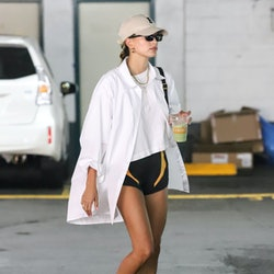 LOS ANGELES CA - JUNE 17:  Hailey Bieber seen on June 17, 2021 in Los Angeles, California. (Photo by...