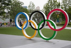 TOKYO, JAPAN - 2020/07/21: Olympic Rings in front of Japan Olympic Museum in Shinjuku. Due to the Co...