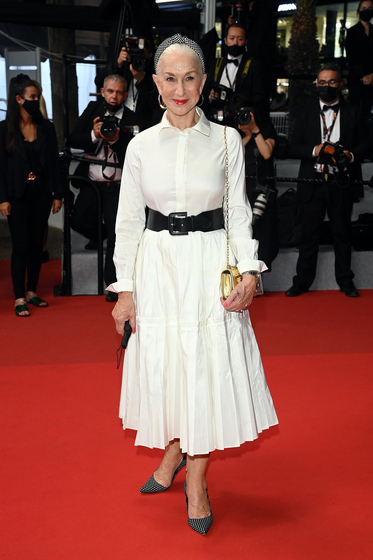 """CANNES, FRANCE - JULY 07: Dame Helen Mirren attends the """"The Velvet Underground"""" screening during the 74th annual Cannes Film Festival on July 07, 2021 in Cannes, France. (Photo by Daniele Venturelli/WireImage)"""