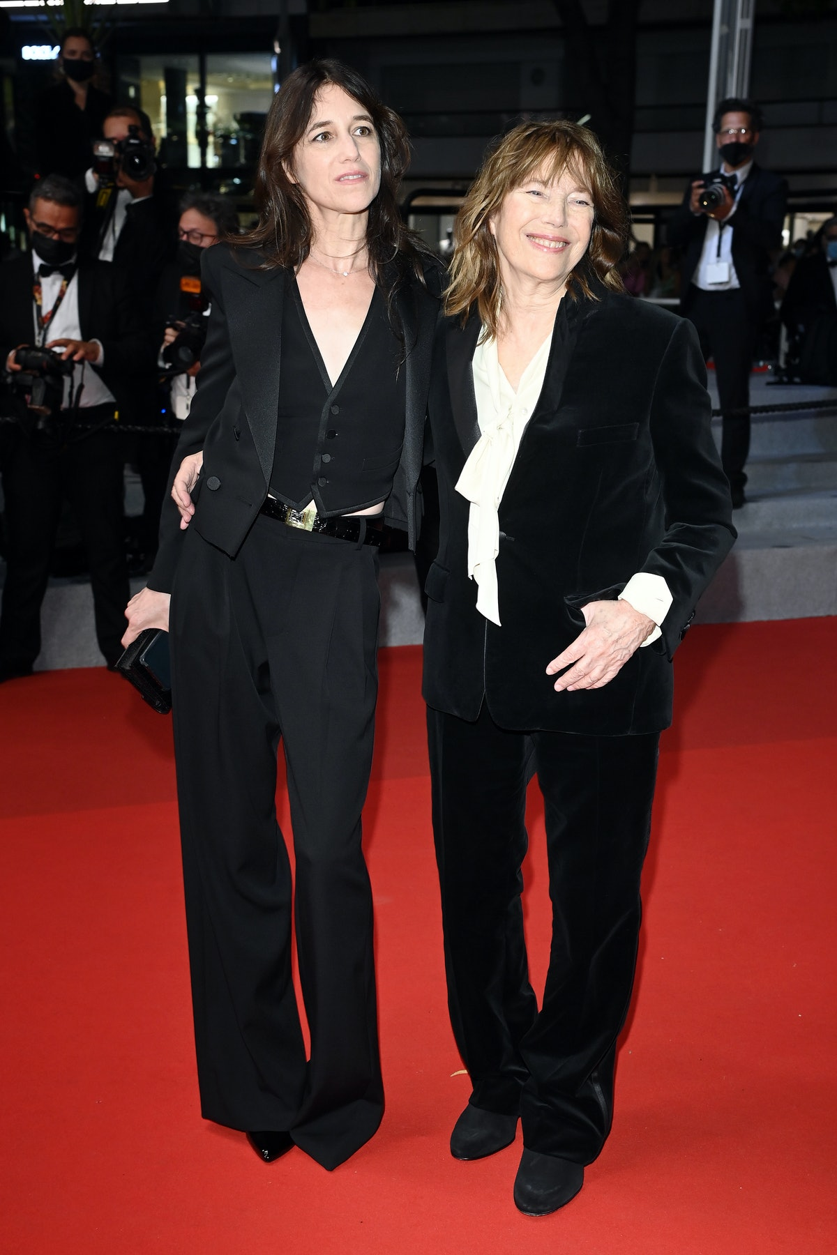 """CANNES, FRANCE - JULY 07: (L-R) Charlotte Gainsbourg and Jane Birkin attend the """"Jane Par Charlotte (Jane By Charlotte)"""" screening during the 74th annual Cannes Film Festival on July 07, 2021 in Cannes, France. (Photo by Daniele Venturelli/WireImage)"""