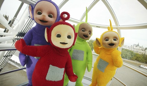 The Teletubbies take a trip on the London Eye to celebrate their 10th year on television.   (Photo by PA Images via Getty Images)