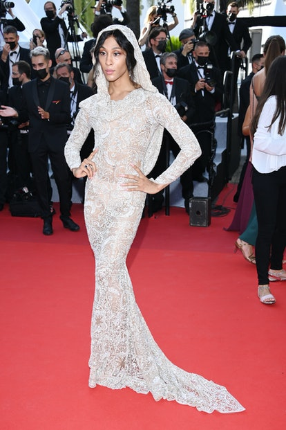"""CANNES, FRANCE - JULY 06: MJ Rodriguez attends the """"Annette"""" screening and opening ceremony during t..."""