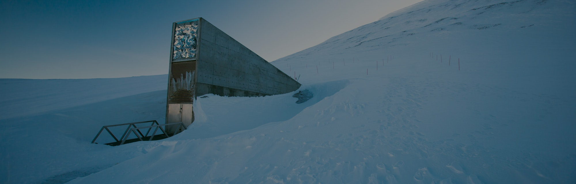 The entrance to the international gene bank Svalbard Global Seed Vault (SGSV) near Longyearbyen on S...