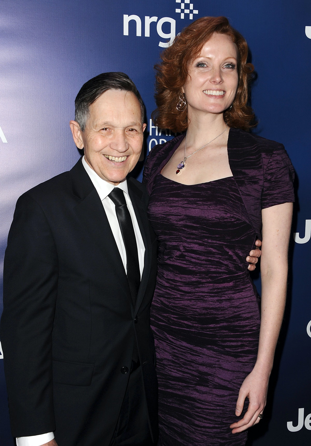 """LOS ANGELES, CA - JANUARY 10:  Dennis Kucinich and wife Elizabeth Kucinich attend the """"Help Haiti Ho..."""