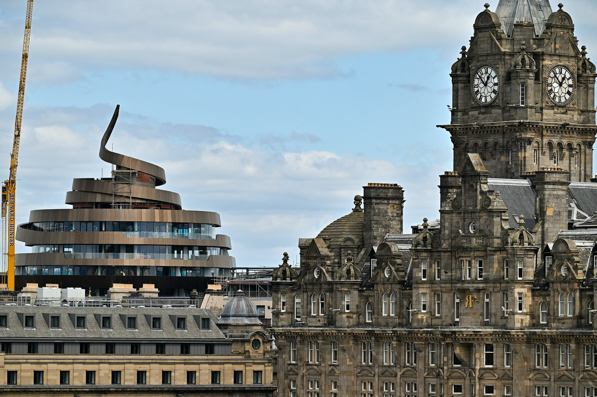 EDINBURGH, SCOTLAND - JUNE 04: A view of the newly built Ribbon Hotel on June 04, 2021 in Edinburgh,...