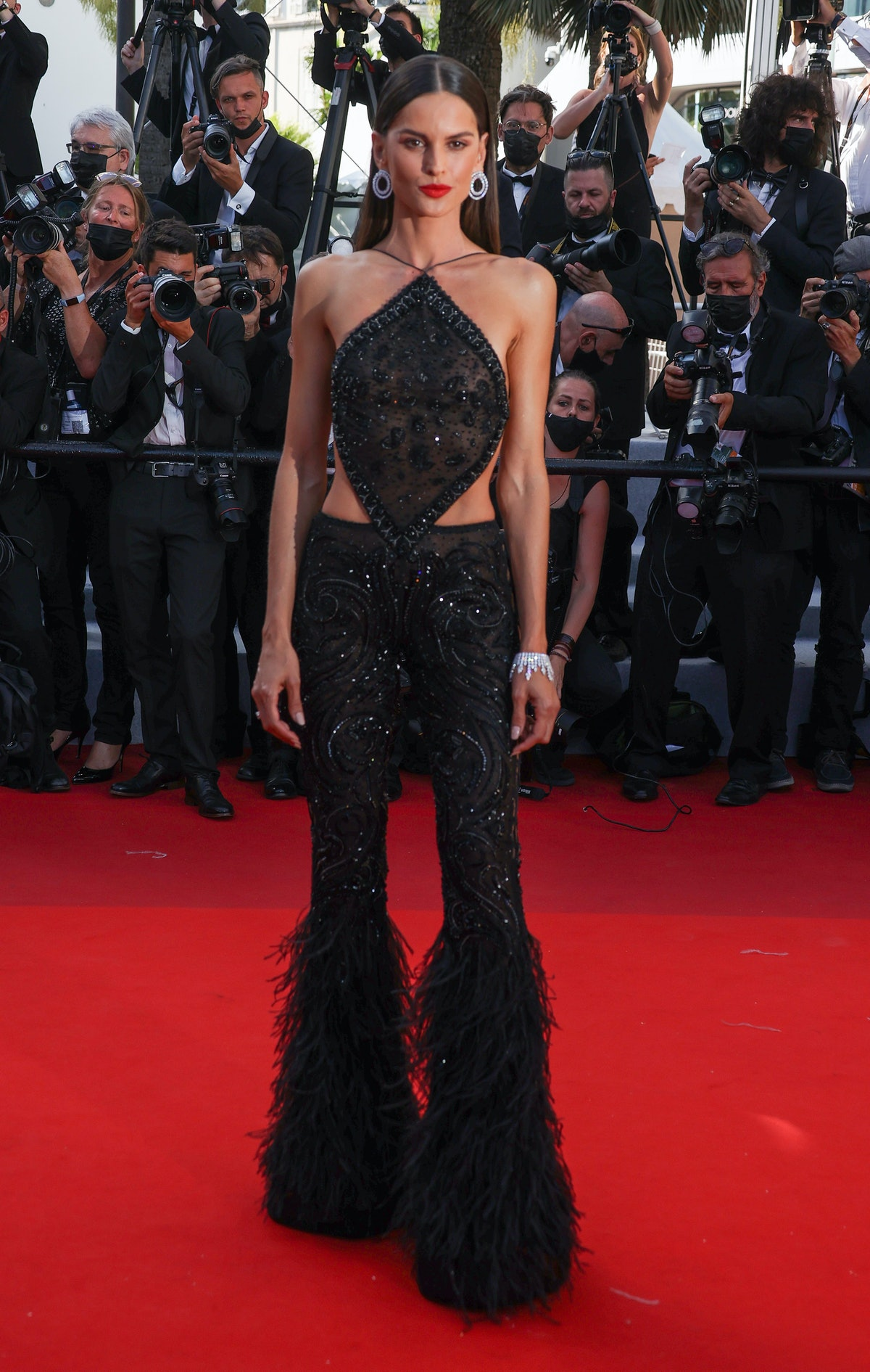 """CANNES, FRANCE - JULY 08: Izabel Goulart attends the """"Stillwater"""" screening during the 74th annual Cannes Film Festival on July 08, 2021 in Cannes, France. (Photo by Mike Marsland/WireImage)"""
