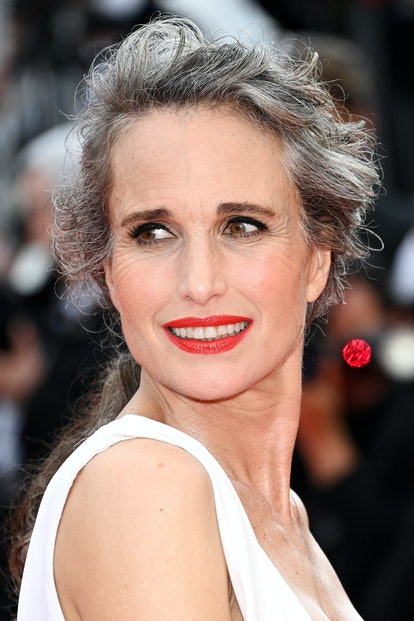 """CANNES, FRANCE - JULY 07: Andie Macdowell attends the """"Tout S'est Bien Passe (Everything Went Fine)"""" screening during the 74th annual Cannes Film Festival on July 07, 2021 in Cannes, France. (Photo by Daniele Venturelli/WireImage)"""
