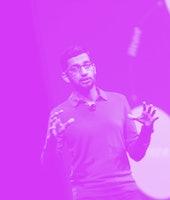 Senior Vice-President of Products, Sundar Pichai speaks to attendees during the Google I/O 2015 keyn...