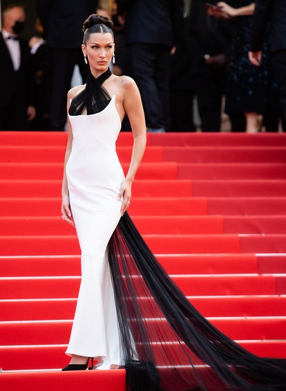 """CANNES, FRANCE - JULY 06: Bella Hadid attends the """"Annette"""" screening and opening ceremony during th..."""
